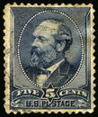 Vintage US Postage Stamp of President Garfield 1880s Royalty Free Stock Photo