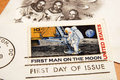 Vintage US stamp of the first man on the moon Royalty Free Stock Photo