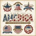 Vintage USA patriotic holidays labels set Royalty Free Stock Photo