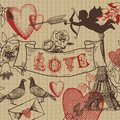 Vintage Valentine franch love banner combo Royalty Free Stock Photo