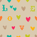 Vintage valentine seamless pattern with letters Royalty Free Stock Photos