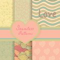 Vintage valentine seamless patterns set eps vector beautiful backgrounds for your design Royalty Free Stock Photography