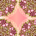 Vintage valentine or wedding design seamless pattern hearts and roses and scrolls. Bridal boquet with lace wrapping decor Royalty Free Stock Photo