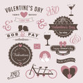 Vintage valentines day design graphic elements eps vector royalty free stock illustration Stock Photos