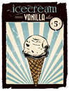 Vintage vanilla ice cream poster with retro colors and grunge effect Royalty Free Stock Image