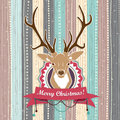 Vintage vector christmas card with deer cold pastel colors illustration of Royalty Free Stock Image