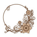 Vintage vector circle frame with floral elements, card design Royalty Free Stock Photo
