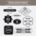 Vintage vector design elements retro style typographic labels badges arrows and emblems set Stock Photos