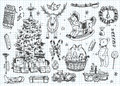 Vintage vector doodles. Christmas, winter Royalty Free Stock Photo
