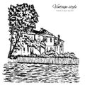 Vintage vector engraving building sketchy line art, Rural landscape with old farmhouse, garden on river isolated on