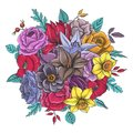 Vintage vector floral composition Royalty Free Stock Photo