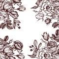 Vintage vector floral template