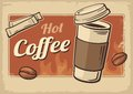 Vintage Vector illustration of hot coffee cup. Retro poster template. Vector old paper texture drink background concept