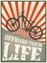 Vintage vector illustration mountain bike text offroad your life Royalty Free Stock Photography