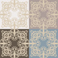 Vintage Vector lace pattern set in Eastern style background. Ornate decor element for design.
