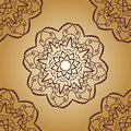 Vintage vector mandala pattern retro brown color. Hand drawn abstract tile. Decorative retro banner. Wallpaper for
