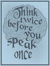 Vintage vector poster human brain advice think twice you speak once Stock Photo