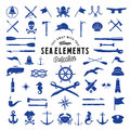Vintage Vector Sea or Nautical Icon Elements Set for Your Retro Labels, Badges and Logos. Royalty Free Stock Photo