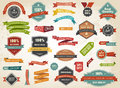 Vintage Vector Set of Label Banner Tag Sticker Badge Royalty Free Stock Photo