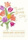 Vintage vector spring greeting card