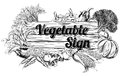 Vintage vegetable produce sign a retro woodcut print or etching style wooden illustration Stock Image