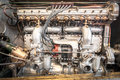 Vintage vehicle engine closeup detail of a powerful Royalty Free Stock Photo
