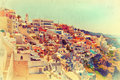 Vintage view amazing thira santorini greece retro style photo Stock Image