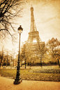 Vintage view of the Eiffel Tower Stock Photography