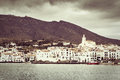 Vintage view of the famous village of cadaques costa brava Royalty Free Stock Photo