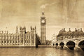 Vintage view of london big ben parliament Royalty Free Stock Images