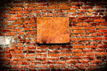 Vintage vignetting photo bricks wall empty board Royalty Free Stock Photos