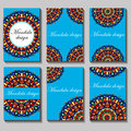 vintage visiting card set. Floral mandala pattern and orn