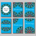 vintage visiting card set. Floral mandala pattern and ornaments.