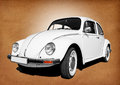 Vintage volkswagen beetle old car white on grungy background Stock Photography