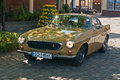 Vintage volvo p e classic retro car in yellow during old cars race in wejherowo poland Royalty Free Stock Photo