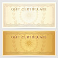 Vintage voucher coupon template with border guilloche pattern watermarks and this background design usable for gift certificate Royalty Free Stock Photography