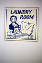 Vintage wall sign with laundry room a typical illustration from the th in blue based Stock Photography