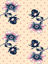 Vintage wallpaper seamless rose flower pattern on circles polka Royalty Free Stock Photo