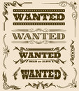 Vintage wanted dead or alive western poster vector frame ornament elements