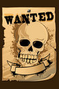 Vintage Wanted Poster with Skull Royalty Free Stock Photo