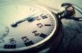 Vintage watch clock striking midnight happy new year pocket Stock Image