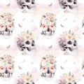 Vintage watercolor patterns with skull and roses, wildflowers, Hand drawn illustration in boho style. Floral skull Royalty Free Stock Photo