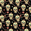 Watercolor seamless pattern with skull and sugar face Royalty Free Stock Photo