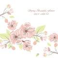 Vintage Watercolor Spring Flowers Background