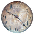 Vintage weathered clock face isolated on white and dirty a background Stock Photos