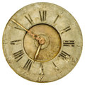 Vintage weathered clock face isolated on white rusty and a background Stock Image