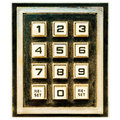 Vintage weathered keypad with reset buttons Royalty Free Stock Photo