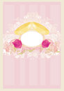 Vintage wedding card with rings illustration Royalty Free Stock Photo