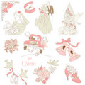 Vintage Wedding Design Elements Stock Image