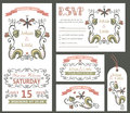 Vintage wedding design template set.Floral decor Royalty Free Stock Photo